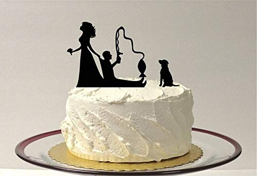 Funny Fishing Wedding Cake Topper with Dog, Fishing Themed Wedding Cake Topper, Fishing Cake Topper Silhouette -