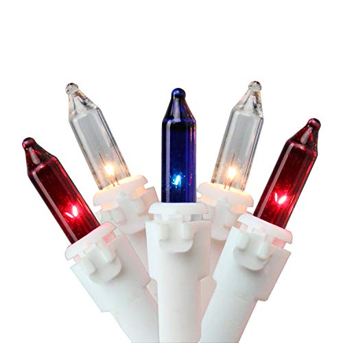 Northlight 50-Count Red, White, Blue 4th of July Mini Light Set, 10ft White Wire ()