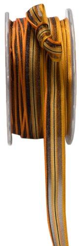 May Arts 1/2-Inch Wide Ribbon, Orange and Black Stripes by May Arts