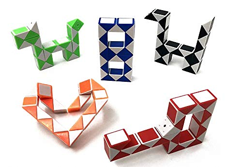 ShuoPeng Twist Toy Snake 24 Parts Snake Cube Mini Puzzle Snakes Retro 22.8cm Magic Cube Snake Retro Travel Puzzle Toy