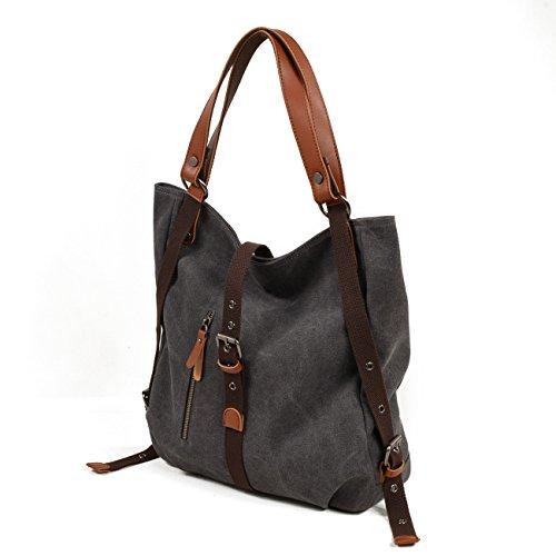Fashion Casual Multifunctional Shoulder Backpack Canvas Rucksack Grey Women Handbag Bag Canvas xAtX8RwZ