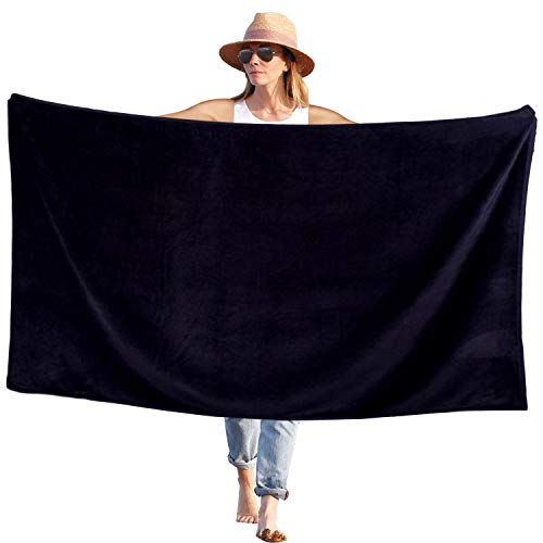 Peach B&C Beach Bath Towel Sheets Terry Velour Soft Turkish Cotton | Extra Absorbent - Quick Fast Drying - Sand Free | Perfect for Bath & Travel & Pool & Sports & Spa & Swimming (1, Solid Black)