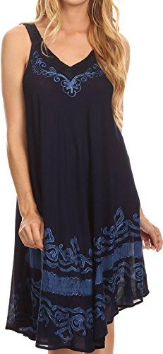 Sakkas 16605 - Gasha Sleeveless Mid Length Caftan Dress with Embroidery Details and V Neck - Navy Blue - OS