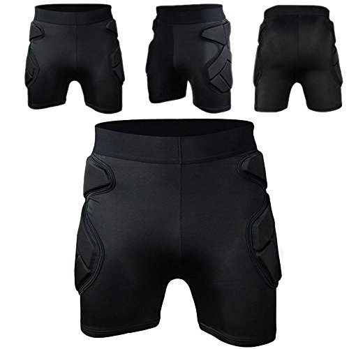 COOLOMG Men's Sport Soccer Shock Rash Guard Short Pants Grappling goalkeeper Padded shorts L ()