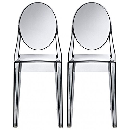 2xhome - Set of Two (2) - Smoke - Victoria Style Ghost Side Chairs Dining Room Chairs - Victorian Accent Seat - Lounge No Arm Arms Armless Less Chairs Seats (Ghost Chair Grey)