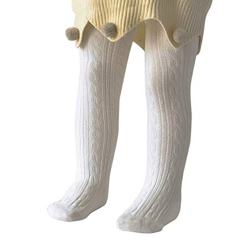 Zando Infant Soft Tights Toddler Seamless Leggings Tights for Baby Girls Winter Knit Warm Newborn Pants Stockings 1 Pack White Medium/6-12 Month ()