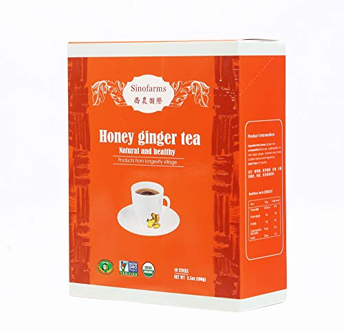 Sinofarms Certified Organic Ginger Root Tea, Instant Ginger Honey Tea Crystals, 10 Sachets 100g