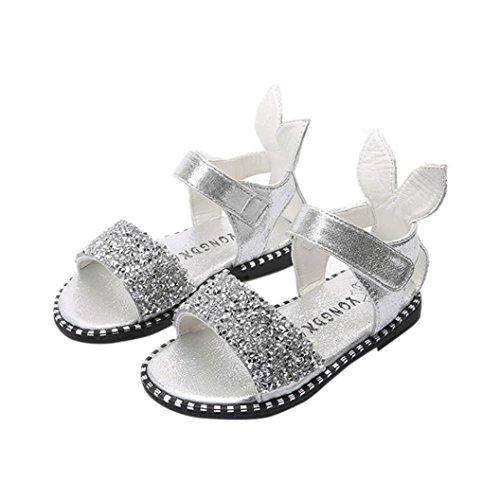 Tefamore Zapatos de la princesa de la moda de los niños, sandalias de punta abierta niñas orejas de conejo Plata
