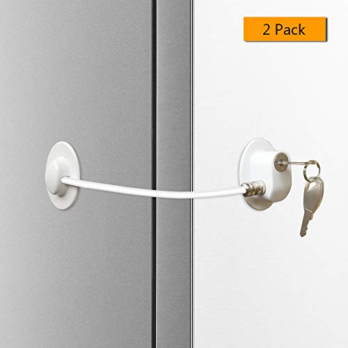 Alamic Refrigerator Door Lock 2 Pack- Freezer Door Lock Cabinet Lock Strong Adhesive Cable Lock Security Door Lock, White