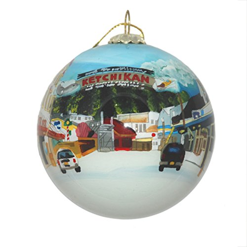 Hand Painted Glass Christmas Ornament - Ketchikan Alaska - Alaska Glass