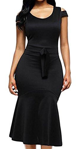 Mermaid Black Party Midi Shoulder s Hem Bodycon Cold Alion Dress Women Xw0RP0v