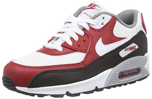 Nike Air Max 90 Mesh (Gs) - Zapatillas Niños Varios Colores - Mehrfarbig (White/White-Gym Red-Black)