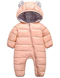 aeff22ce7ea9 Little Unisex Baby One-Piece Adorable Hooded Zip Up Long Sleeve Puffer  Jacket Jumpsuit Winter
