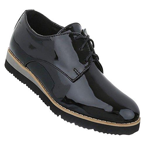 Damen Schuhe Halbschuhe Schnürer Schwarz