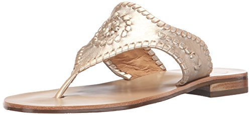 Jack Rogers WoMen Blair Dress Sandal, White/Gold, US US Platinum
