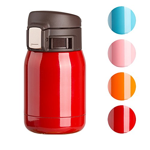 TQZ Small 6-Ounce Vacuum Insulated Coloring Stainless Steel Travel Mug, Leak-proof Double Walled Mini Bottle - Cute Shaped for Kids/Ladies - Portable One-hand Operation Coffee Cup - Red