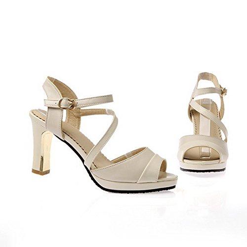 AgooLar Women's Solid High Heels Open Toe Buckle Sandals Beige UARDun