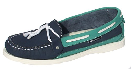 Blue Shoes 7200L Deck Seafarer Summer Leather Womens Turquoise amp; Casual Dark BHHFP8q