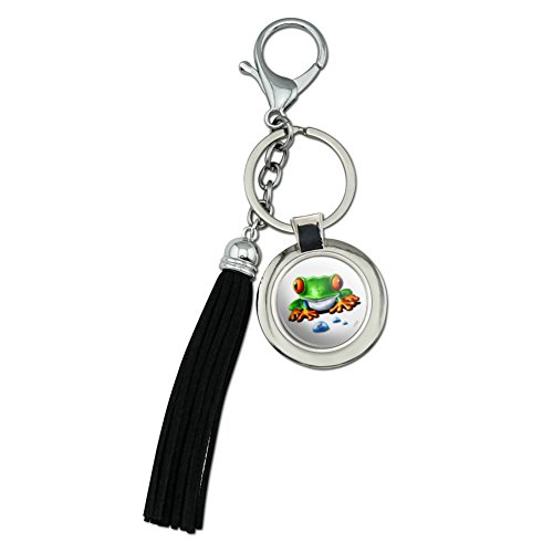 - Rainforest Red Eyed Tree Frog and Ant Chrome Plated Metal Round Leather Tassel Keychain