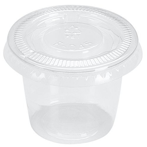 Benail Plastic Disposable Portion Cups Souffle Cup with Lids, 1-Ounce, 200-Pack