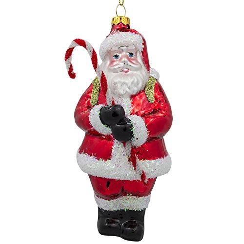 (BestPysanky Santa Claus Holding Candy Cane and Gifts Glass Christmas Ornament 5.5 Inches)