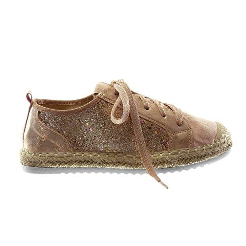 Angkorly Women's Fashion Shoes Espadrilles Trainers - Sporty Chic - Tennis - bi Material - Glitter - Shiny - Cord Flat Heel 2.5 cm Pink Jd2gzt