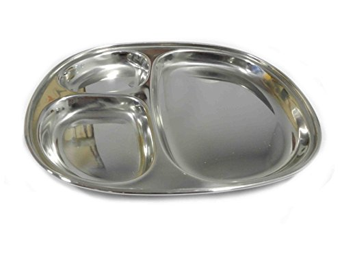 Stainless Steel Oval Dining Plate 3 Compartment For Pav Bhaji and Breakfast, 10.5 X 9 Inch (Silver), Easter Day/Mothers Day/Good Friday Gift -