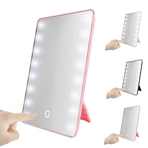 Faltbare LED beleuchteter Kosmetikspiegel mit Licht, SOONHUA Smart Touch Hinterbauständer 16LED beleuchteter Kosmetikspiegel Make-up kosmetische Aufsatz- Cordless Tabellen-Spiegel Einstellbare Helligkeit (Pink)