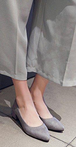 Confortable Aisun Talons Moyens Escarpins Femme Pointues Gris Bloc fxBAp