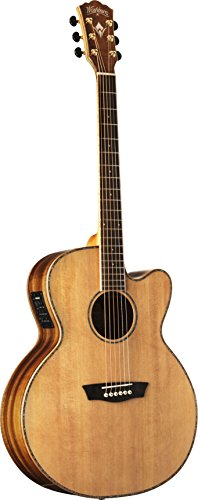 Washburn WJ55SCENS Willie K Signature Acoustic-Electric Guitar, Natural Satin