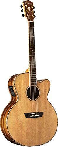 (Washburn WJ55SCENS Willie K Signature Acoustic-Electric Guitar, Natural Satin)