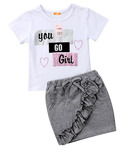 2PCS Baby Girls Kids Clothes Set Summer Short Sleeve T-Shirt Tops and Bodycon Skirt Outfit (Clothes Top Jean Skirt Outfit)