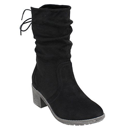 Side Laces Zipper (Beston FM31 Women's Back Lace Side Zipper Stacked Heel Mid-calf Slouchy Boots, Color Black, Size:11)