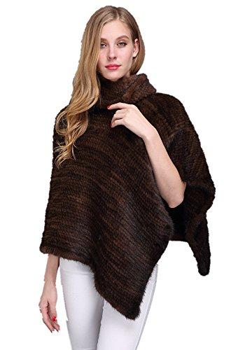 Mink Poncho - LVCOMEFF Lady Genuine Knitted Mink Fur Poncho 1706027 (brown)