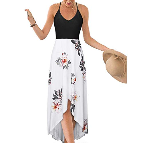 Juesi Women's Cocktail Party Dress, Sexy Strappy Backless Floral Hi-Low ()