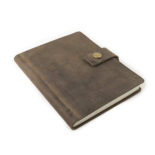 Rustico's Ranger Leather Notebook, Lined Journals to Write in, Leather Softcover Writing Notebook With Pen Loop and Snap, Journal Notebook With 192 Pages, Great Corporate Gifts (Dark Brown)