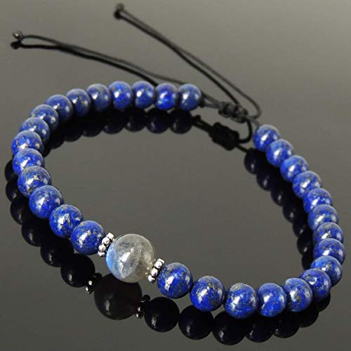 Cleansing Zen Protection Gemstone Jewelry Men's Women's Handmade Braided Bracelet Casual Wear with Labradorite, Lapis Lazuli, Adjustable Drawstring, S925 Sterling Silver Vintage Spacer - Vintage Spacers