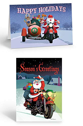Motorcycle Christmas Cards - Assorted Motorcycle Cards - 18 Christmas Cards & Envelopes (Assorted)