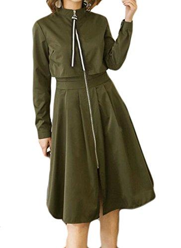 Pleated Denim Jacket (ARTFFEL-Women Casual Pleated Windproof Stand Collar Swing Long Jackets Coats Army Green L)