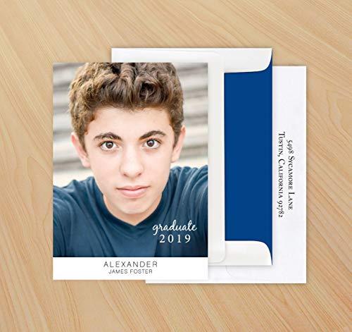 Modern Graduation Photo Card Invitation - Set of -