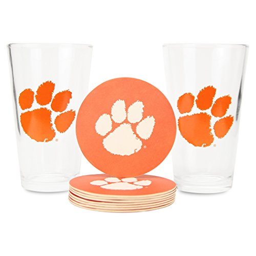 Memory Company NCAA Pint Glass and Coaster Set (2 Pack)(Clemson Tigers) -