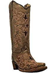 Corral Womens Fleur Embroidered Snip Toe Fashion Western Boots