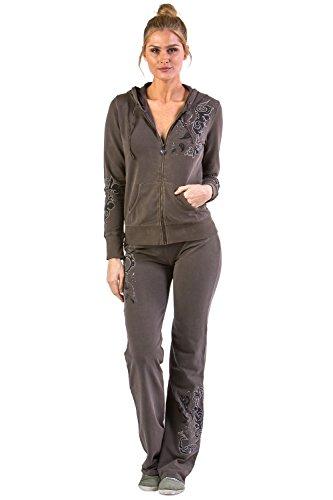 Vertigo Paris Women's Flower Embroidered Lounge Tracksuit Jog Set - Chai - Medium - Embroidered Hoodie Jacket