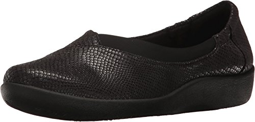 Clarks Women's Sillian Jetay Black Snake Print Loafer