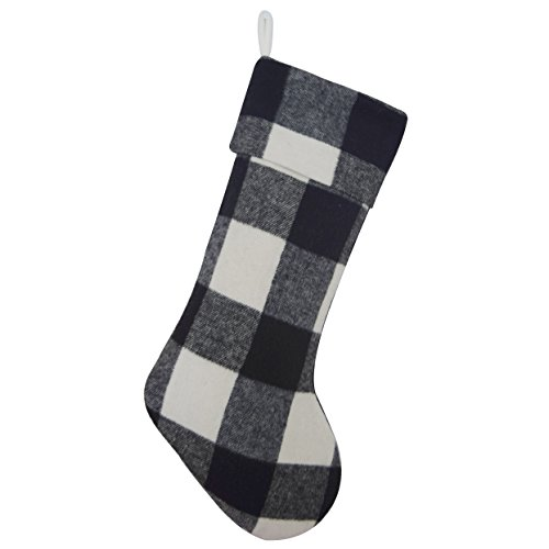 (Gireshome Buffalo Check Black and White Plaid Body, Same Plaid Cuff Christmas Stocking Xmas Tree Decor)