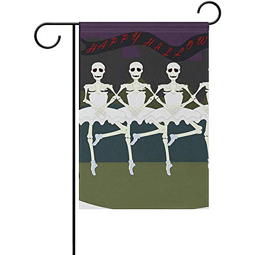 Johnnie Halloween Skull Dance Welcome Garden Flag 12 X 18 Inches, Double Sided Seasonal Outdoor Flag and Best for Party Yard Home Decor