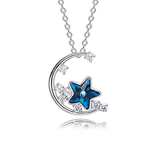 Blue Star Necklace - Dreamflower Simple and Elegant Star Moon Pendant Crystal Necklace Clavicle Temperament Blue Star Pendant Jewelry Female