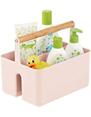 mDesign Plastic Portable Nursery Storage Organizer Caddy Tote - Divided Basket Bin with Wood Handle - Holds Bottles, Spoons, Bibs, Pacifiers, Diapers, Wipes, Baby Lotion - Light Pink