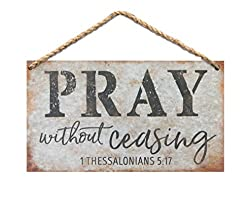 Pray Without Ceasing Wood 6 x 3.5 Printed Overlay Mini Wall Hanging Plaque Sign