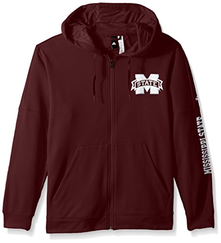 NCAA Mississippi State Bulldogs Adult Men Left Side Dab Team Issue Fleece Full Zip Hood, Medium, Maroon (Fleece Screen Zip)